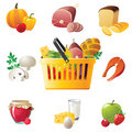 Shopping basket and food icons Royalty Free Stock Photos