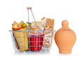 The shopping basket with food and money box various on white Royalty Free Stock Images