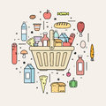 Shopping basket with food products from the store. Royalty Free Stock Photo
