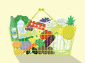 Shopping Basket Full Of Food. Royalty Free Stock Photo