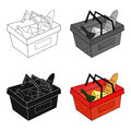 Shopping basket full of groceries icon in cartoon style isolated on white background. Supermarket symbol stock vector