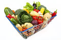 Shopping Basket Full of Vegetables Stock Photography