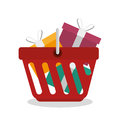 shopping basket with gifts Royalty Free Stock Photo