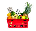 Shopping basket grocery with food Royalty Free Stock Photography