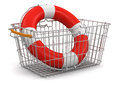 Shopping basket and lifebuoy clipping path included image with Stock Photography