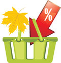 Shopping basket. Seasonal discounts Stock Images