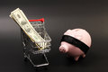 Shopping basket with stack of money american hundred dollar bills inside and pink piggy bank with black blindfold standing on Stock Photos