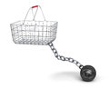 Shopping basket and steel ball on a chain d illustration Royalty Free Stock Photo