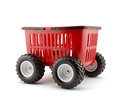 Shopping basket on wheels d render of Stock Photography