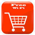 Shopping basket with wi fi sign on red button eps Stock Images