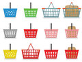 Shopping baskets different colors and forms of Royalty Free Stock Photos
