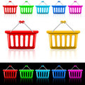 Shopping baskets icons with illustration on white and black Royalty Free Stock Photo