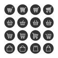 Shopping baskets thin line icons set