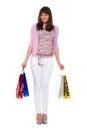 Shopping.Bbeauty avec des modules de couleur regarde de côté Photos stock