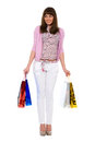 Shopping.Bbeauty met kleur opzij eruit ziet de pakketten Stock Foto's