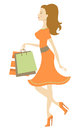 Shopping beauty an illustration of walking with bags Royalty Free Stock Photos