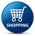 Shopping blue round button Royalty Free Stock Photo