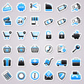 Shopping blue stickers icons for web design Stock Photo