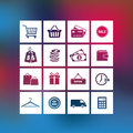 Shopping and business icons collection of on a blurred background Royalty Free Stock Image