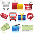 Shopping and business icons set of e commerce Royalty Free Stock Image