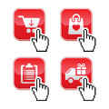 Shopping buttons set with cursor hand icon Stock Photo