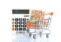 Shopping card with euro banknote and white calculator Stock Photos