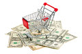 Shopping cart on american dollars white background Stock Images