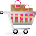 Shopping Cart and Bags Stock Photo