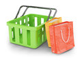 Shopping cart and bags on white background d rendered image Royalty Free Stock Image