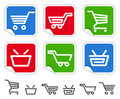 Shopping cart and basket icons Royalty Free Stock Photography