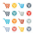 Shopping cart basket web symbols icons set Royalty Free Stock Images