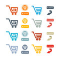 Shopping cart basket web symbols icons set isolated on white background Royalty Free Stock Image