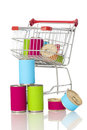 Shopping cart with canned goods Royalty Free Stock Photography