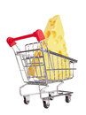 Shopping cart with cheese isolated on white background Royalty Free Stock Photography