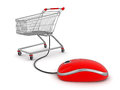 Shopping cart with computer mouse clipping path included image Stock Photos