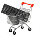Shopping Cart and computer mouse and key Royalty Free Stock Photos