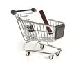 Shopping cart with credit card on white Royalty Free Stock Images