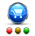 Shopping Cart Cristal Glossy Button Stock Photo