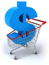 Shopping cart with a dollar Stock Image