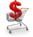 Shopping cart with dollar clipping path included image Stock Photos