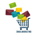 Shopping cart with email marketing Royalty Free Stock Photo
