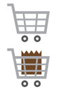 Shopping cart empty full symbol and Stock Photo
