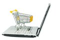 Shopping cart an empty on a laptop computer symbolic photo for on the internet Stock Photos