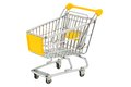 Shopping cart an empty on white background symbolic photo for Stock Photography