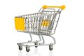 Shopping cart an empty on white background symbolic photo for Royalty Free Stock Images
