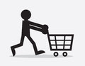 Shopping cart figure silhouette pushing Stock Photo