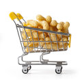 Shopping cart is filled with flips snack with clipping path Stock Photography