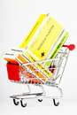 Shopping cart with first aid kit Royalty Free Stock Photography