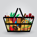 Shopping cart with foodstuffs icons Stock Photos