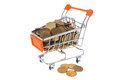 Shopping cart full of coins isolated on white Royalty Free Stock Photo
